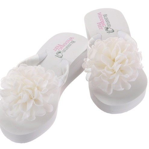 Bridal Flip Flops with Boutique Chiffon Roses