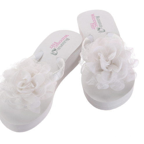 e8fe22f595e7 Bridal Flip Flops with Chiffon and Lace Roses