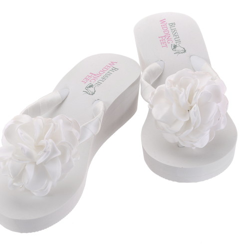 Bridal Flip Flops with Satin Roses with high heel