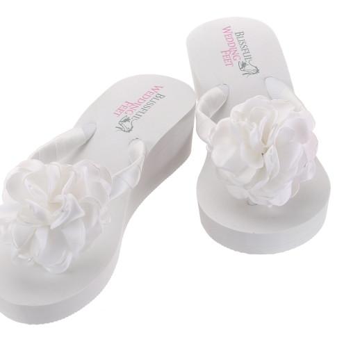 bb506ef5ad0b Bridal Flip Flops with Satin Roses