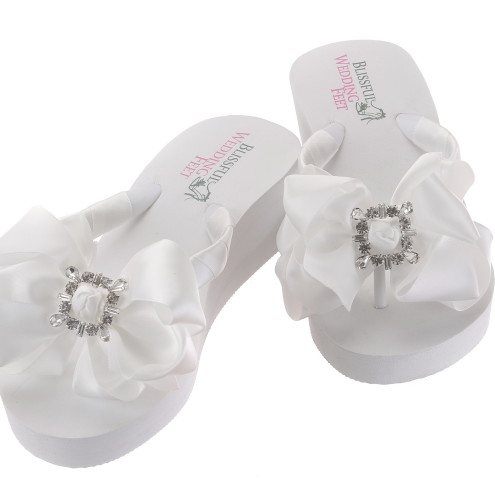 Bridal Flip Flops with Square Retro Rhinestones