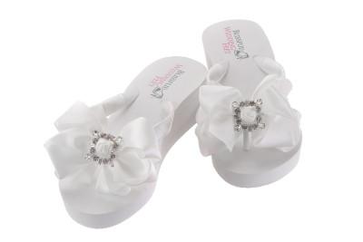 Bridal Flip Flops with Square Retro Rhinestones