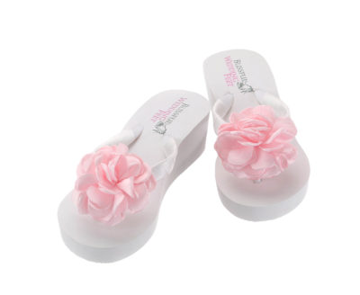 Flip Flops with Pink Satin Roses with high heel
