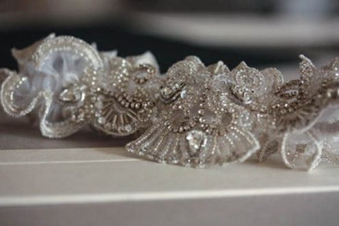 Caitlyn Heirloom Wedding Garter with Rhinestones