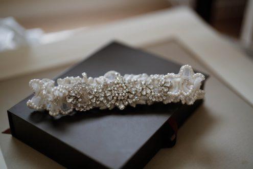 Heirloom Garter with pearl edging and rhinestone embellishment