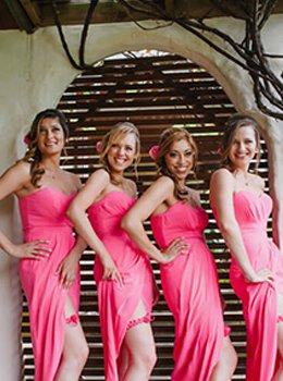 Four Bridesmaids wearing garters