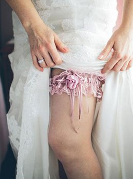 Wendy wearing a Vintage Wedding Garter