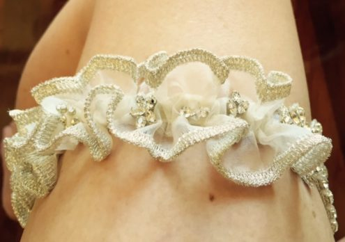 Charlotte Heirloom Wedding Garter side view