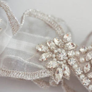 Heirloom Wedding Garter with silver embroidered edge on organza