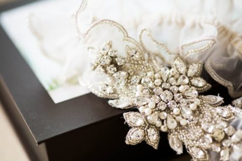 Paris Heirloom Wedding Garter with Rhinestones and Pearls