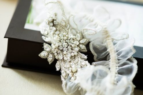 Paris Heirloom Wedding Garter with off-white organza