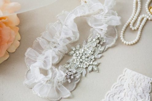 Paris Heirloom Wedding Garter with beaded edge
