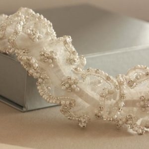 Pearl Drops Heirloom Wedding Garter with Pearls and Rhinestones