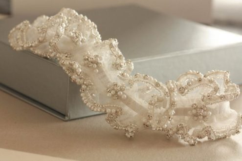 Heirloom Wedding Garter with Pearls and Rhinestones