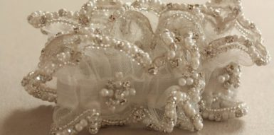 Heirloom Wedding Garter with Rhinestones and Pearl Design