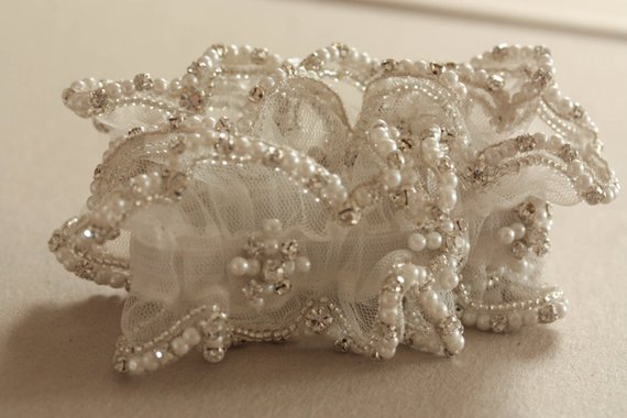 Pearl Drops Heirloom Wedding Garter with Rhinestones and Pearls