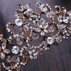 A beautiful crystal and rhinestone Vintage Tiara Headpiece with a brass setting
