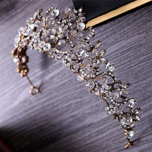 A wedding tiara made from sparkling rhinestones and crystals
