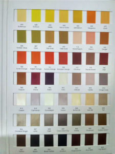 Colour Chart of satin ribbon colours available for Bridal Flip Flops